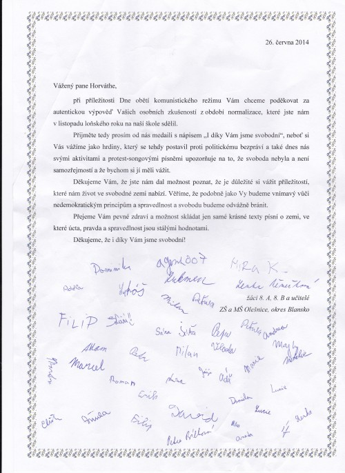 Poděkování žáků ZŠ Olešnice